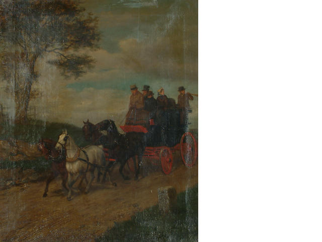 William Henry Wheelwright (British, 19th Century) A coach and horses.  59 x 48cm(23 1/4 x 18 7/8in)