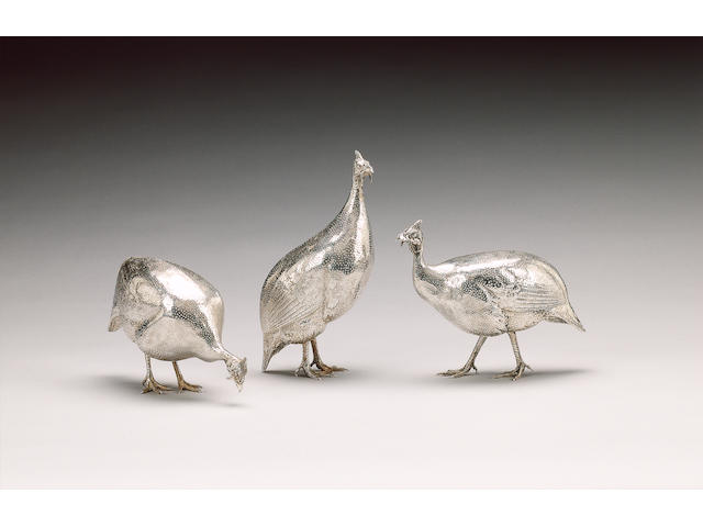 A set of three Zimbabwean metalware Guinea Fowl, by Patrick Mavros,