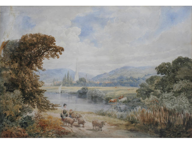 Follower of David Cox, Droving sheep by the hayfields; droving sheep, a town in the distance,