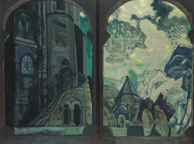 Nicholas Konstantin Roerich, Russian 1874-1947.  Tristin and Isolde.  Monogrammed on teh right panel
