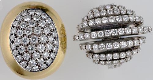 Two modern diamond dress rings