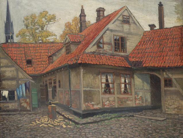 Mstislav Valerianovich Dobuzhinsky (Russian, 1875-1957) Bruges courtyard 62 x 80.5 cm. (24 ¼ x 32 in.)