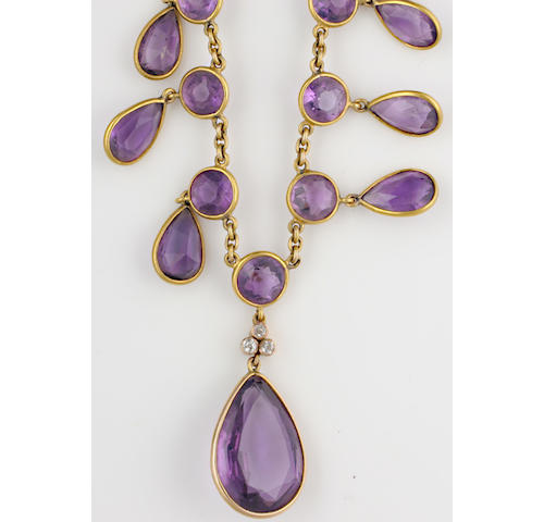 A garnet necklace