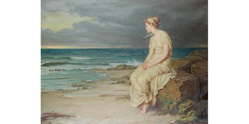 John William Waterhouse, RA, RI (British 1849-1917) Miranda 76 x 101.5 cm. (30 x 40 in.)