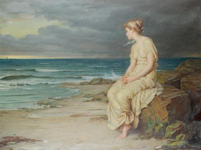 John William Waterhouse, RA, RI (British 1849-1917) Miranda 76 x 101.5 cm. (30 x 40 in.)