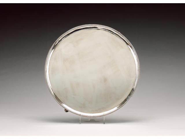 A George III silver circular salver, by Hester Bateman, London 1783,