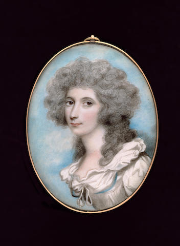 Andrew Plimer, Lady Caroline Price (1755-1826), wearing white dress with white ruffled collar, blue ribbon around the bodice, her hair curled and powdered