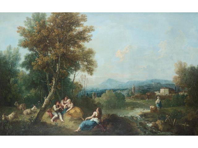 Francesco Zuccarelli (Pitigliano 1702-1788 Florence) An Arcadian landscape 57 x 89 cm. (22½ x 35 in.)