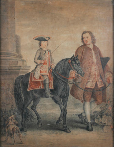 English School, circa 1780 Portrait of John Manners, 5th Duke of Rutland, upon a black pony, a manservant holding the bit, a spaniel watching on,