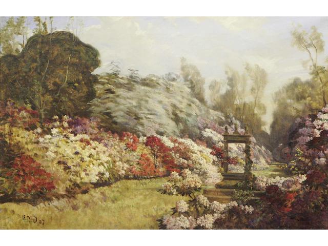 Robert Noble (19/20thc) Garden in full bloom