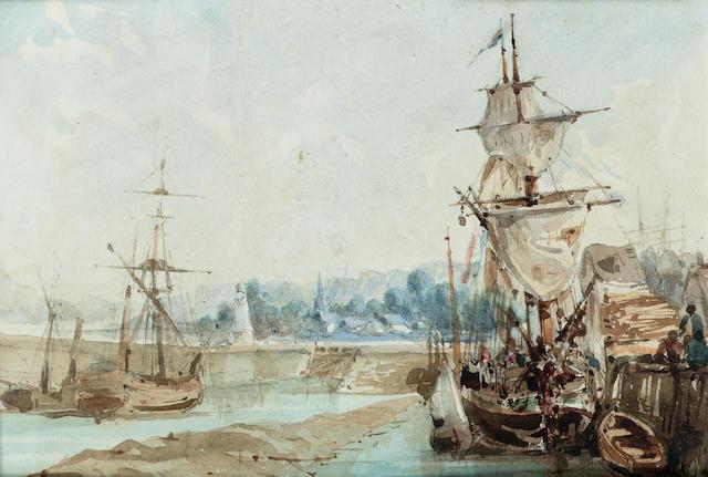 Richard Parkes Bonington (British, 1802-1828) Boulogne harbour 13 x 19 cm. (5 x 7 1/2 in.) unframed