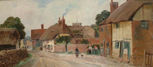 Alfred Breanski (British, 1852-1928) Village gossip, early morning.