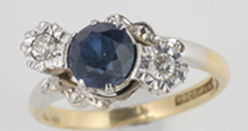A sapphire and diamond ring, (3)