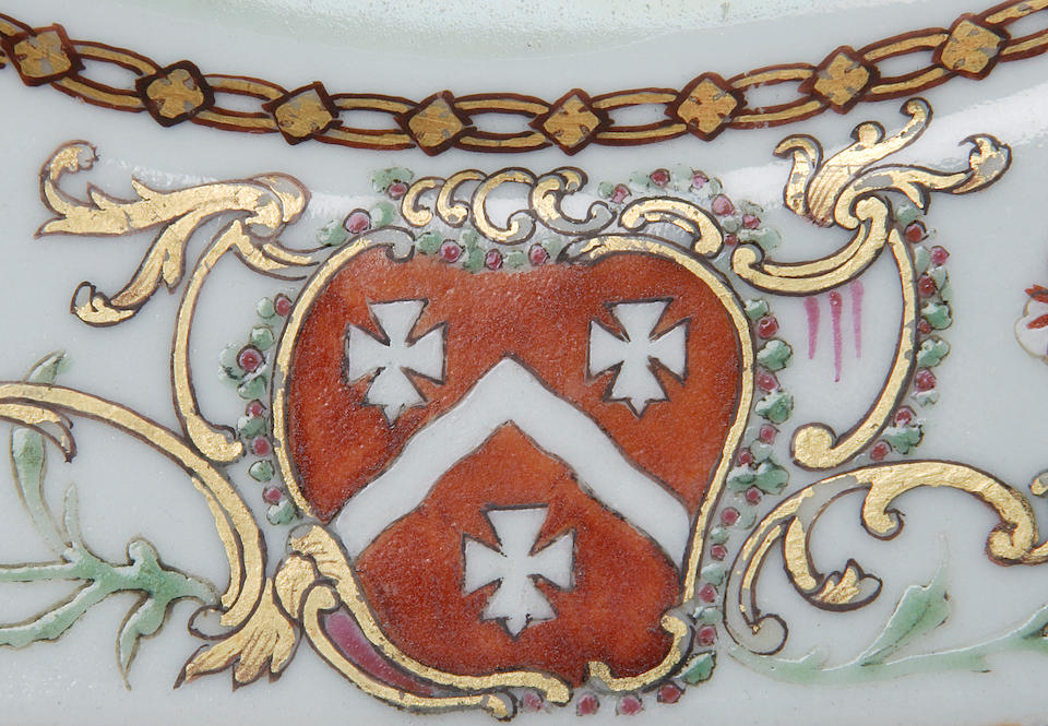 A pair of armorial famille rose octagonal plates Chinese circa 1765