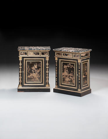 A fine pair of Empire ormolu-mounted Japanese black and gold lacquer pewter-inlaid ebony Side Cabinets attributed to François-Honoré-Georges Jacob and Georges Jacob, differences to the side pilaster mounts