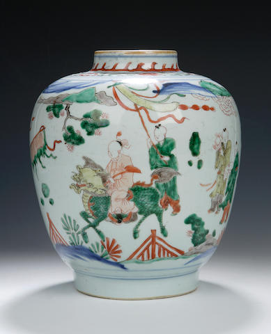 A wucai vase, Chinese, 18th century