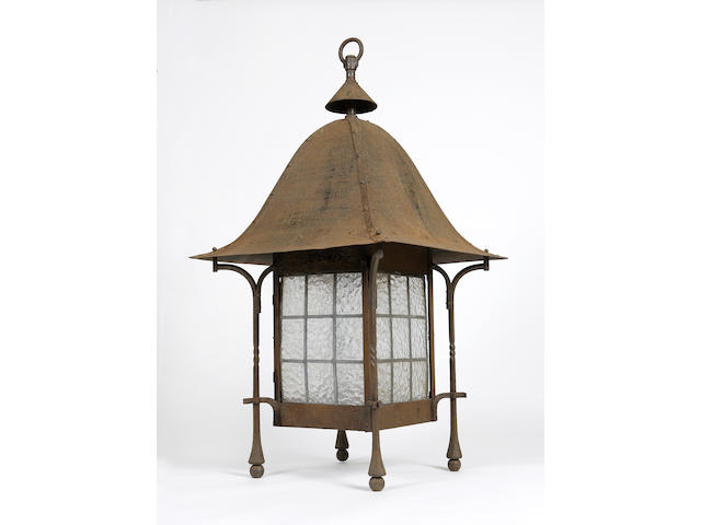 A very large Arts and Crafts wrought iron lantern.