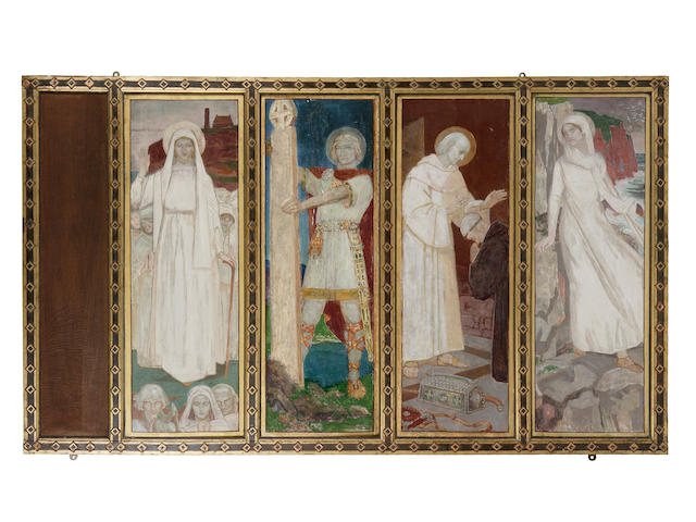 John Duncan RSA RSW (1866-1945) The Sneaton Castle Altarpiece : Left Wing overall size,