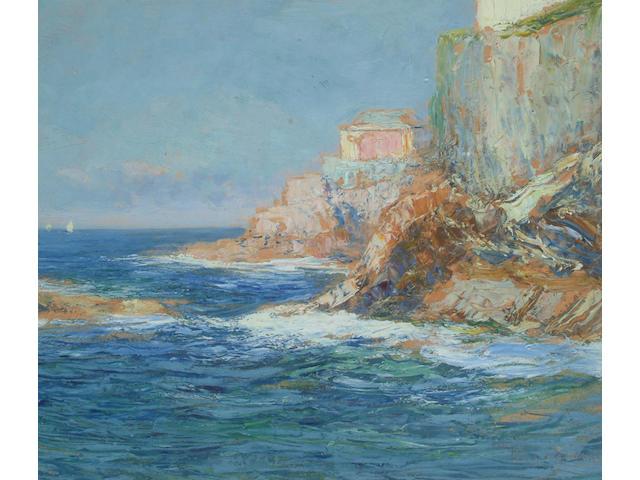 Giuseppe Sacheri, (Italian, 1863-1950) Rocky coast.