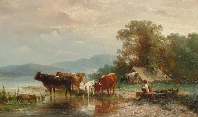 Albert Jurardus van Prooijen (Dutch, 1834-1898) Cattle by the waterside.