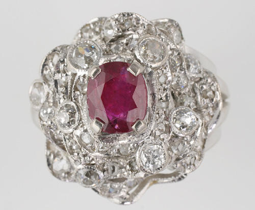 A diamond and ruby abstract ring,