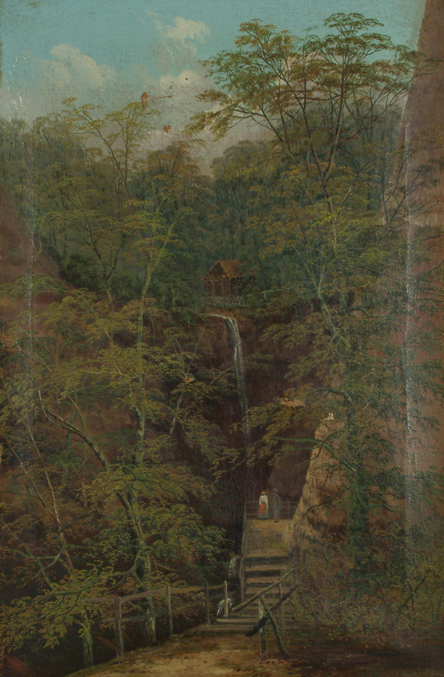 ** Allan (British, late 19th/early 20th Century) Lovers picnicking beside in a wooded landscape; Lovers gazing at a waterfall. each 61.6 x 40.6cm (24 1/4 x 16in)(2)