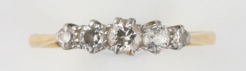 A five stone diamond ring, (2)