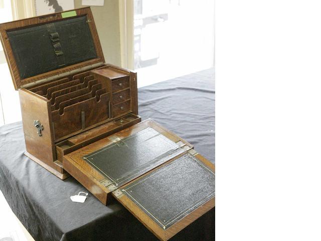 A Victorian oak writing box