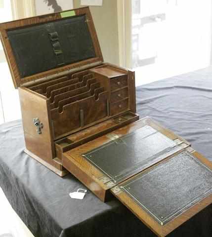 A Victorian oak writing box