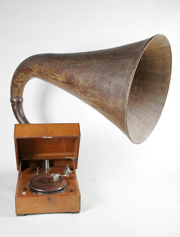 An EMG model XA table top horn gramophone