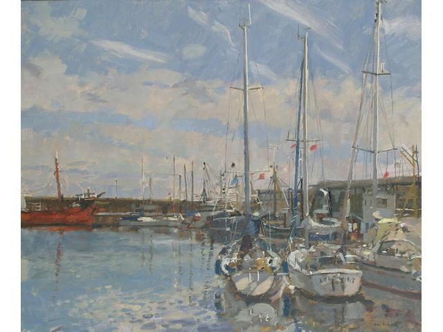 Ken Howard (British, b.1932) Penzance Harbour.