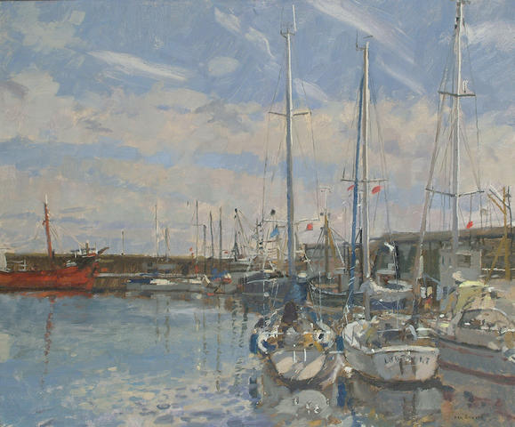 Ken Howard (British, b.1932) Penzance Harbour.