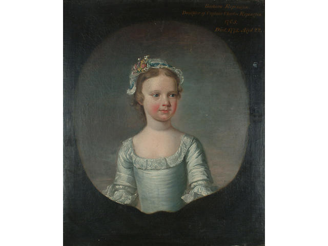 Circle of George Beare Portrait of Barbara Repington as a girl, half-length, in a white dress and a white lace cap with flowers, in a painted cartouche.
