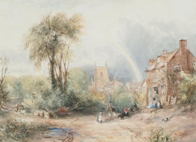 English School, circa 1840 Figures before a cottage with a rainbow in the distance.