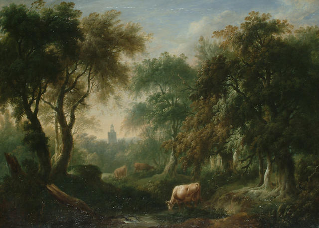 Attributed to Charles Towne Cattle watering in a wooded landscape, before a tower,