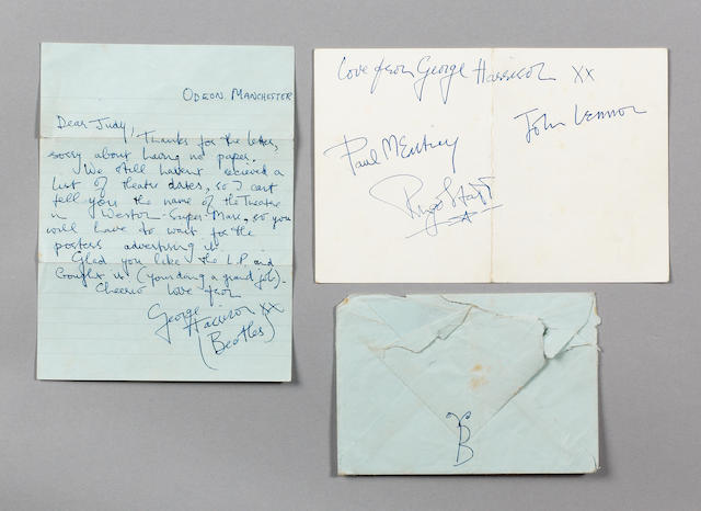 A George Harrison letter and autograph, 1963,