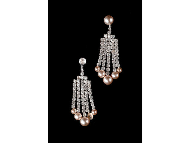 How to Marry a Millionaire 1953 A pair of faux diamond and pearl earrings worn by Marilyn Monroe in the film