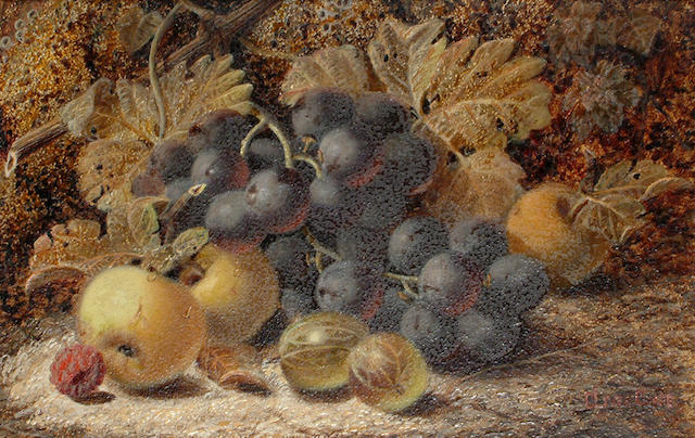 Oliver Clare (British, 1853-1927) Still lifes of fruit and vines. (2)
