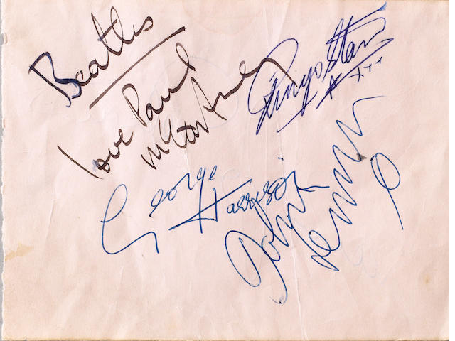 A set of Beatles autographs, early 1963,