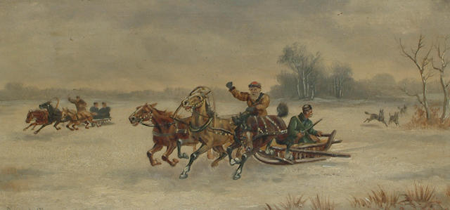 J. Orloff (Russian, 19th/20th Century) Russian troikas in a winter landscape, hunting wolves. each 15.5 x 31cm (6 1/8 x 12 1/4in) (2)