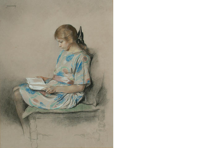 English School, 19th Century A young girl reading.