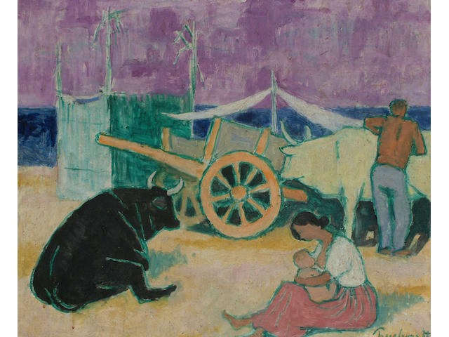 Julian Trevelyan (British, 1910-1989) Spanish scene with figures, oxen and cart.