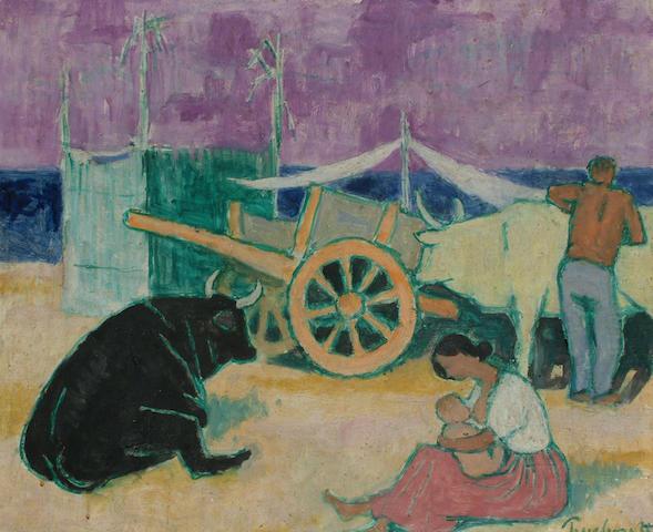 Julian Trevelyan (British, 1910-1989) Spanish scene with figures, oxen and cart.