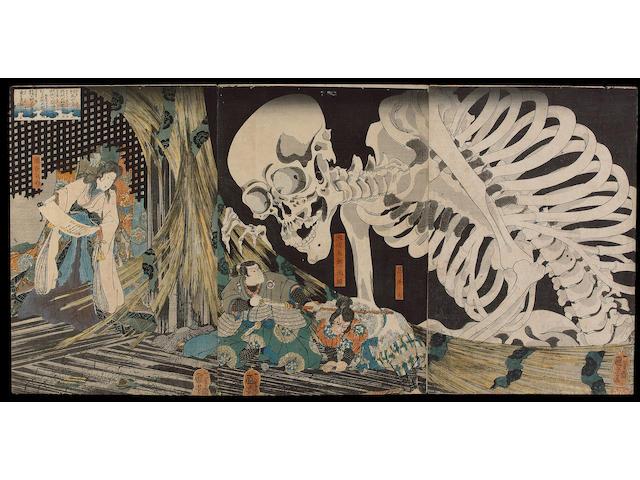 A typical gajo featuring Kuniyoshi and Toyokuni III;