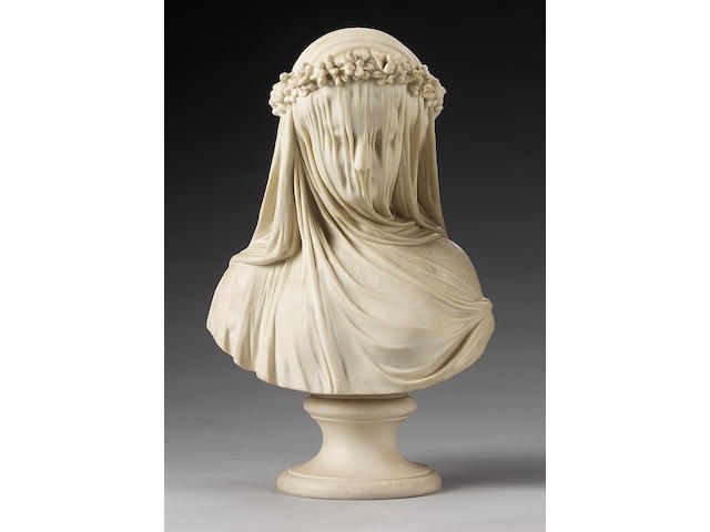 A Copeland parian bust of 'The Bride', circa 1861, after a model by Rapaelle Monti,