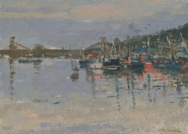 Ken Howard (British, b.1932) Harbour scene at dusk.