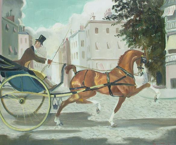 Doris Zinkeisen (British, 1898-1991) Ride in Berkeley Square. 50 x 60cm (19 3/4 x 23 1/2in)