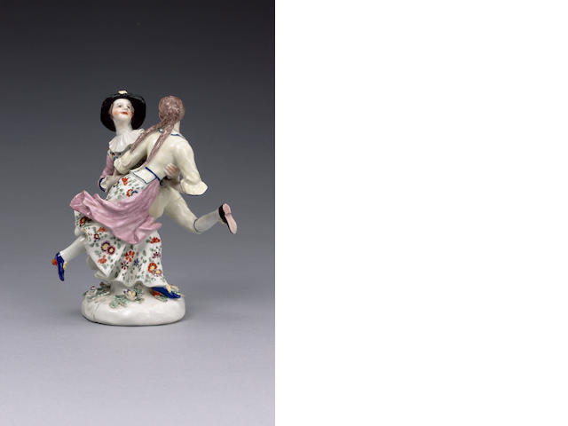 A fine Bow group of Harlequin and Columbine dancing circa 1755