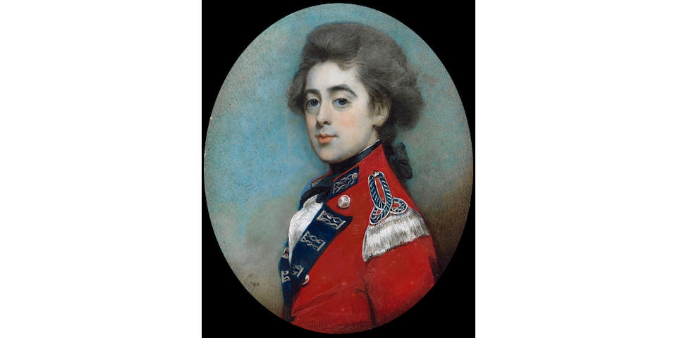 Horace Hone A.R.A., Colonel George Northcoate, wearing scarlet coatee, with blue facings and silver lace, a silver bullion epaulette on his left shoulder, indicating Field Rank, the strap of the epaulette with blue ground and silver lace tracing