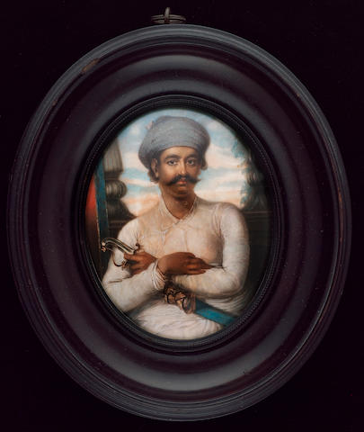 Ozias Humphry R.A., Prince Jawan Bakht (c.1749-1788) the Shahzada, three-quarter length, seated, his arms folded across his sword, wearing white muslin dress and pale blue turban, the background of a window and pillars